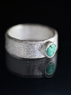 Silver Ocean Worn Turquoise Ring