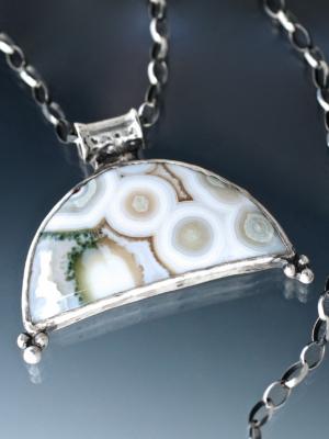 Moon Rise Ocean Jasper Silver Necklace