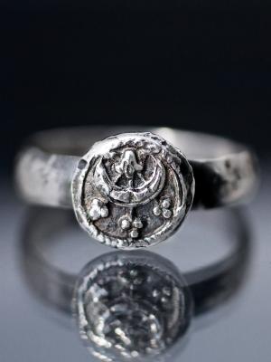 Moon Wax Seal Silver Ring